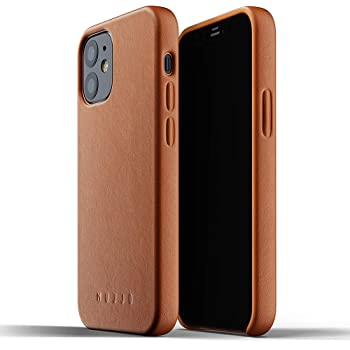 Mujjo Full Leather Case for iPhone 12 Mini | Premium Genuine Leather, Natural Aging Effect | Super Slim, Leather Wrapped, Wireless Charging (Tan)