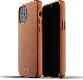 Mujjo Full Leather Case for iPhone 12 Mini   Premium Genuine Leather, Natural Aging Effect   Super Slim, Leather Wrapped, ...