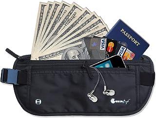 Gearbay6 RFID Blocking Money Belt Black - Money Belt RFID Blocking Sleeves Security Passport Holder Hidden Waist Pouch Travel Pack for Men and Women