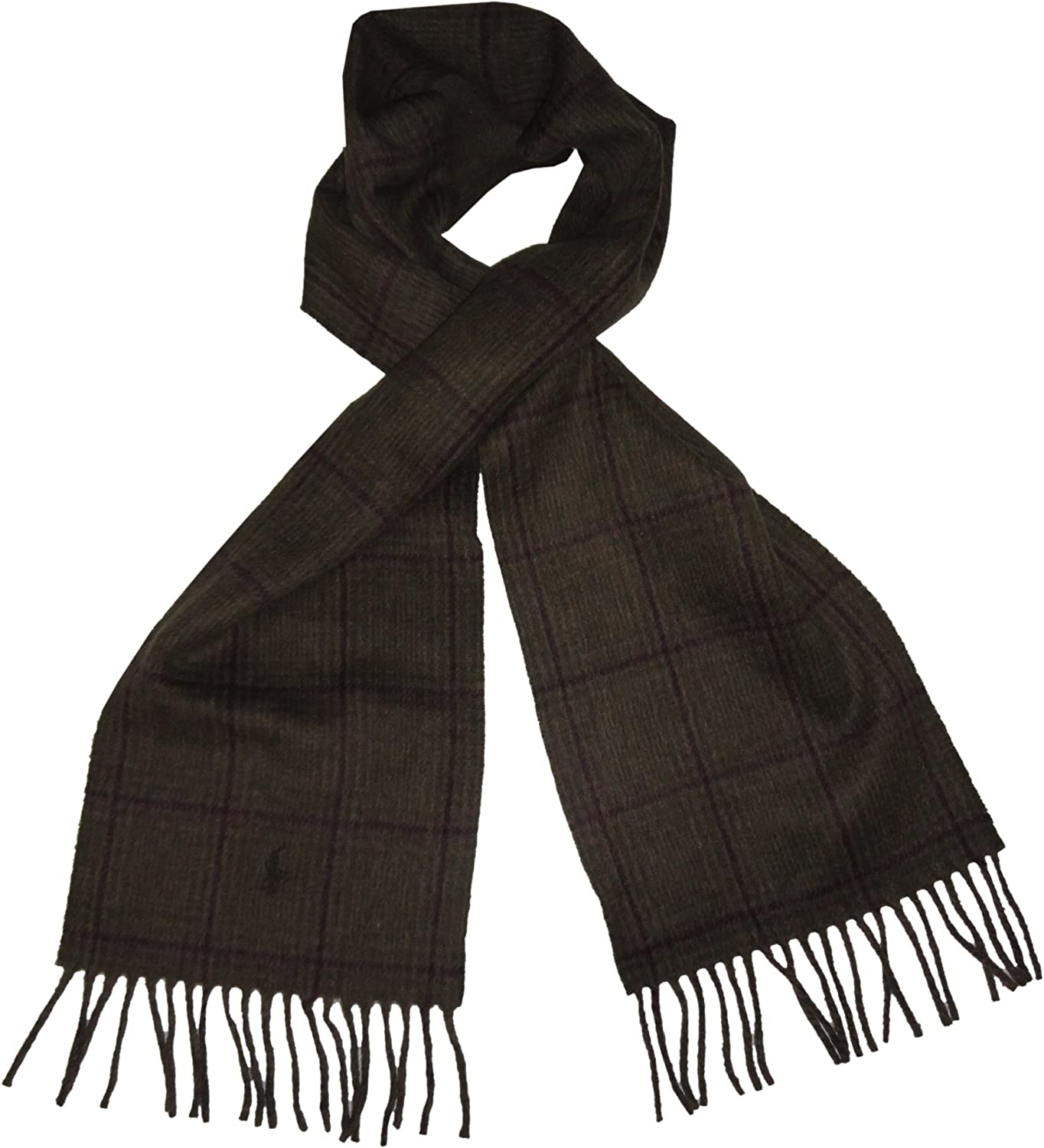 Polo Ralph Lauren Mens Wool Blend Winter Scarf Olive and Purple Plaid