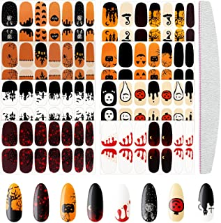 8 Sheets Halloween Nail Stickers Halloween Nail Wraps Self-Adhesive Decals Polish Sticker Strips for Halloween Party with ...
