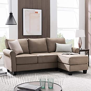 Amazon.com: Nolany Reversible Sectional Sofa Couch For Small Apartment L Shape Sofa Couch 3-seat Sectional Corner Couch (Dark Khaki): Furniture & Decor