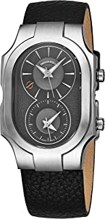 Philip Stein シグネチャー スイス製 デュアルタイムゾーン 腕時計 - 自然な周波数技術でより良い睡眠を提供 - アナロググレーフェイスと夜光針 ブラックレザーバンド クォーツウォッチ