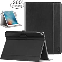 Ztotop Case for iPad Pro 12.9 inch 2017/2015 (Old Model, 1st & 2nd Gen), [360 Degree Rotating/Genuine Leather] with Auto Wake/Sleep, Pencil Holder, Document Card Slots, Multiple Viewing Angles, Black