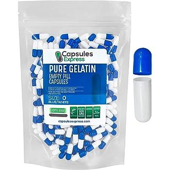 100 Empty Clear Gelatin Capsules Size 1 Gelatine Self Fill Gel Caps Gelcaps