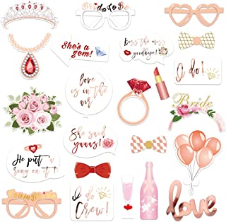 Wedding Bridal Shower Photo Booth Props(23Count),Konsait Metallic Rose Gold Bachelorette Photo Booth with Stick for Bridal Shower Girls Night Out Hen Party Gift Accessories Wedding Favor Supplies