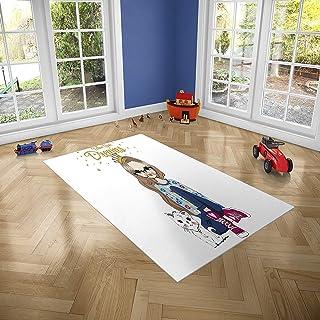 D/écoration Maison 95 cm x 95 cm Oedim Tapis Carpette pour Chambre Enfant en PVC Lino Motif Infantile Route Circuit Voiture Ville