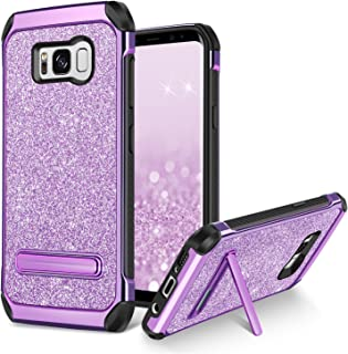 Galaxy S8 Case BENTOBEN Slim Hybrid Soft Rubber Bumper Hard PC Cover Laminated Sparkly Glitter Luxury Shiny Faux Leather Shockproof Rugged Protective Phone Case for Samsung Galaxy S8 - Purple/Black