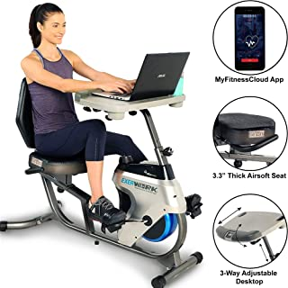 Exerpeutic 2500 Bluetooth 3 Way Adjustable Desk Recumbent Exercise Bike with Airsoft Seat and Free APP