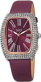 Burgi® BUR237 - Reloj de pulsera para mujer con correa de piel acentuada y cristales de Swarovski
