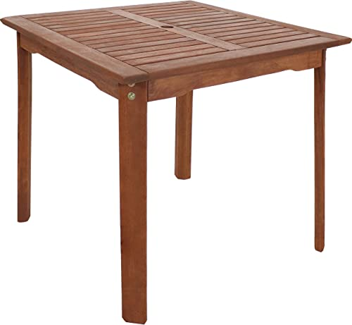 new arrival Sunnydaze Meranti Wood 31.5-Inch Square outlet sale Table with Teak Oil Finish - Rustic Outdoor Dining Patio Table - Perfect for Outdoor Entertaining - Ideal for The Backyard, Front Porch, Patio wholesale and Garden outlet online sale