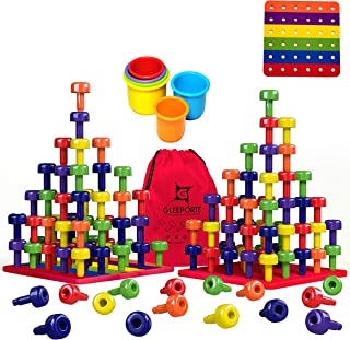Stacking Peg Board Set Toy | JUMBO PACK | Montessori Occupational Therapy Early Learning For Fine Motor Skills, Ideal for Toddlers and Preschooler, Includes 60 Plastic Pegs & 3 Boards | Storage Bag