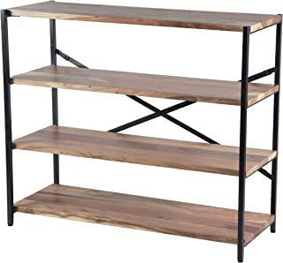 The Urban Port UPT-75900 Industrial Design Four Shelves Wood and Iron Bookshelf, Brown and Black