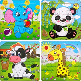 Wooden Jigsaw Puzzles Set for Kids Age 2-5 Year Old Animals Preschool Puzzles for Toddler Children Learning Educational Puzzles Toys for Boys and Girls (4 Puzzles)