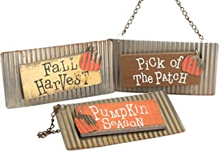 Honey In Me Pumpkin Season Fall Medley 10 x 5 Metal Wood Harvest Hanging Signs Set of 3