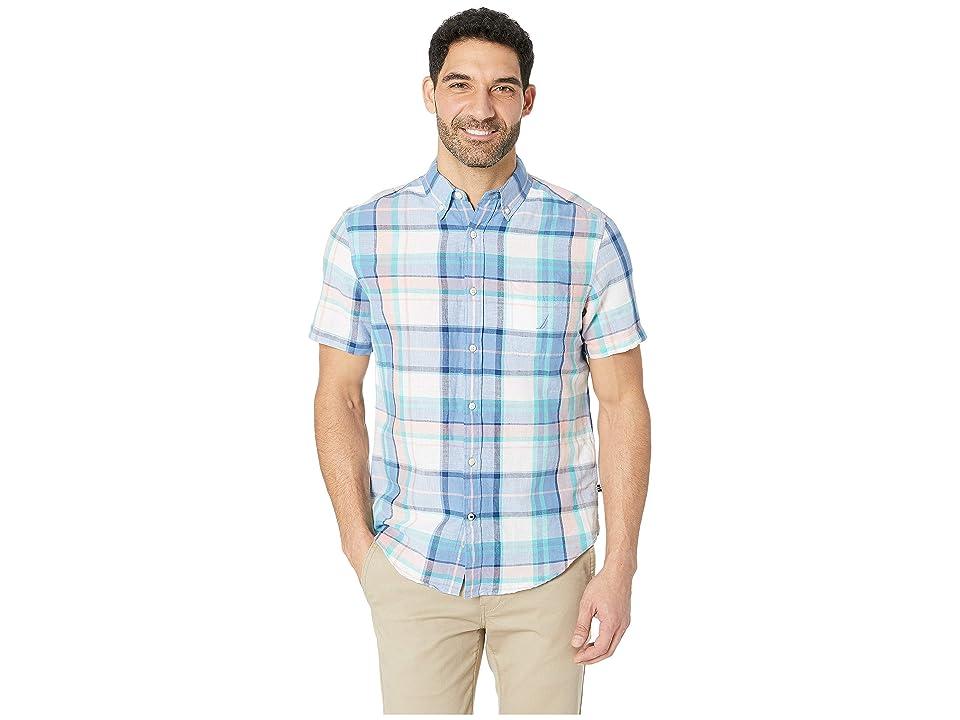 Nautica Short Sleeve Rivera Plaid Linen Shirt (Riviera Blue) Men