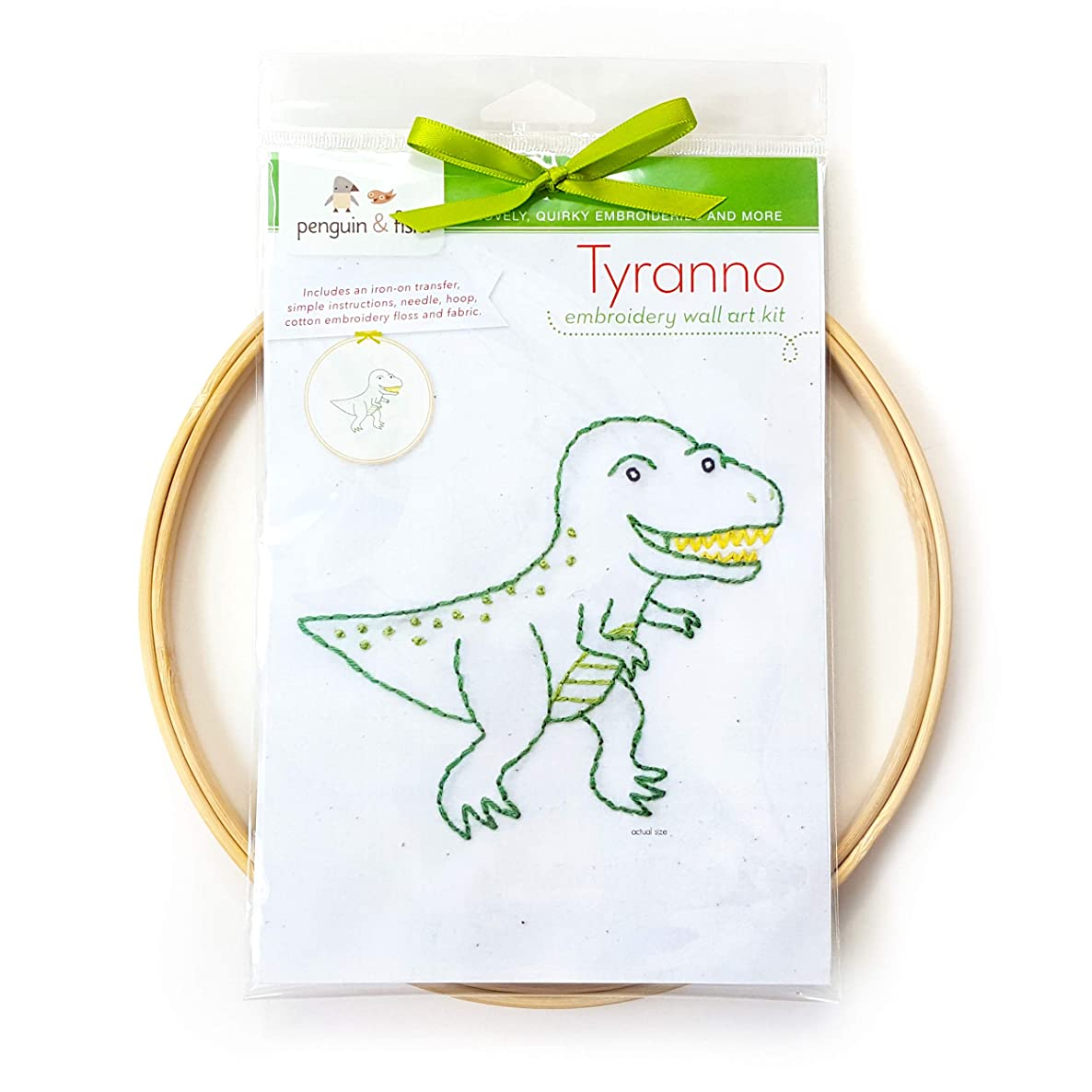 Tyranno Dinosaur Hand Embroidery DIY Craft Wall Art Kit, Beginner Learn to Embroider Backstitch, French Knot, 8 inch Hoop, 6 Strand Cotton Floss Thread, Needle, Kids Crafts Boys Girls