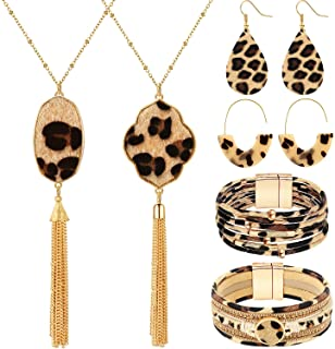 Hicarer Leopard Jewelry Set Leopard Leather Bracelets Dangle Earring Pendant Necklace for Women