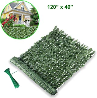 Lovelydecor Artificial Privacy Fence Screen, Faux Ivy Leaf Privacy Screen Artificial Hedge for Outdoor Indoor Décor Garden Backyard Patio Deck Balcony Decoration(120' x 40', Forest Green)