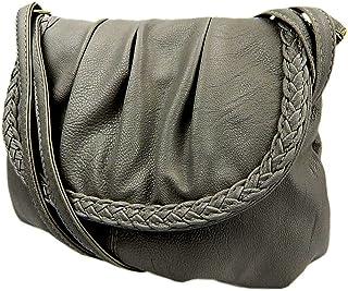 Kleine Damentasche Umhängetasche Citytasche Bag Schultertasche Handtasche Clutch 23 x 14 cm (grau)
