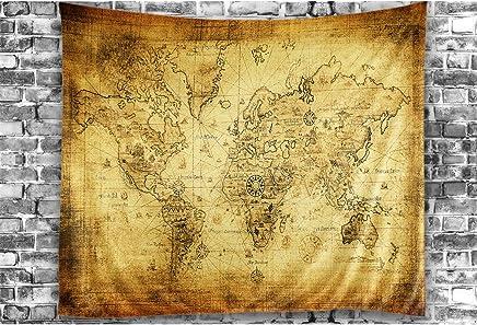 Carte des Animaux du Monde pour Les Enfants 230 x 140 cm pour la Chambre ABAKUHAUS Esprit DAventure Tapisserie Vert Jaun/âtre