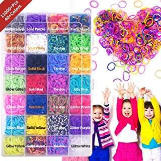 Rainbow Loom Rubber Bands Bracelet Making Refill Kit with Charms & Colorful S Clips, in 40+ Colors