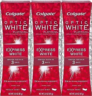 Colgate オプティックホワイトプラチナエクスプレス白の歯磨き粉、フレッシュミント3オズ(3パック)