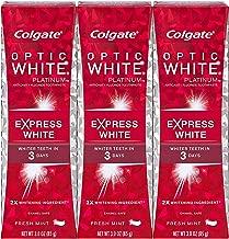 Colgate Optic White Platinum Express White Toothpaste, Fresh Mint 3 oz (Pack of 3)