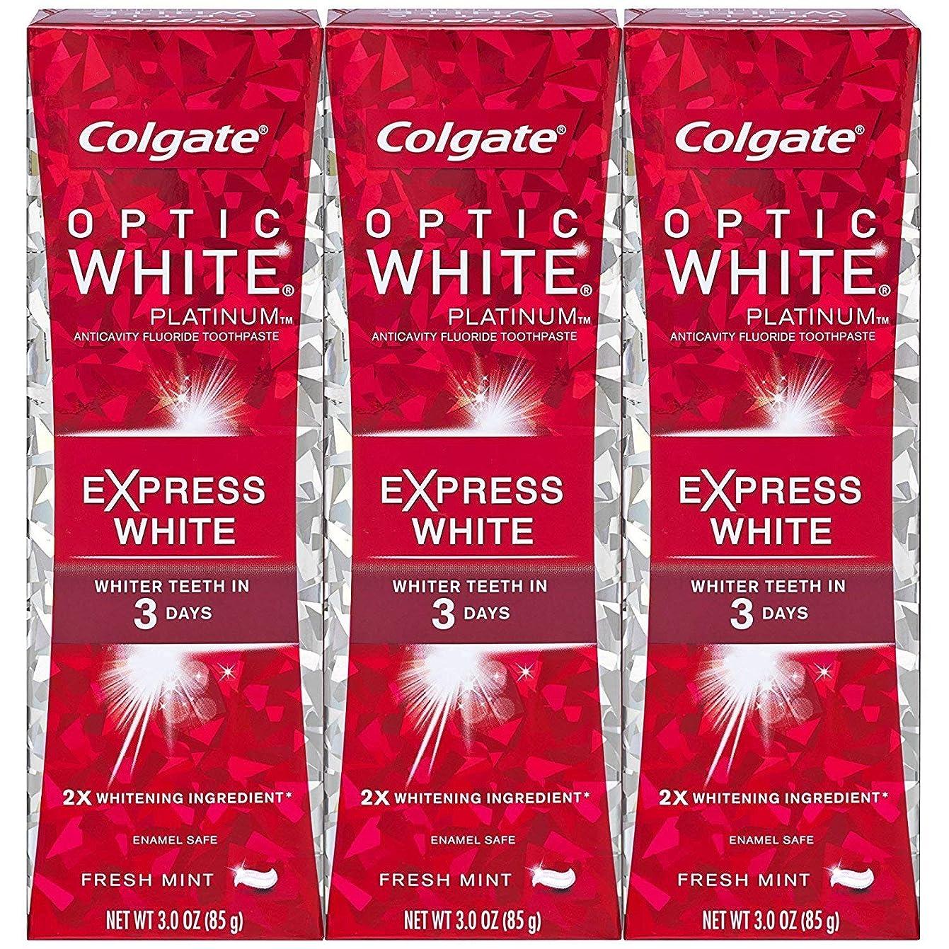 あいにく雰囲気冒険家Colgate オプティックホワイトプラチナエクスプレス白の歯磨き粉、フレッシュミント3オズ(3パック)