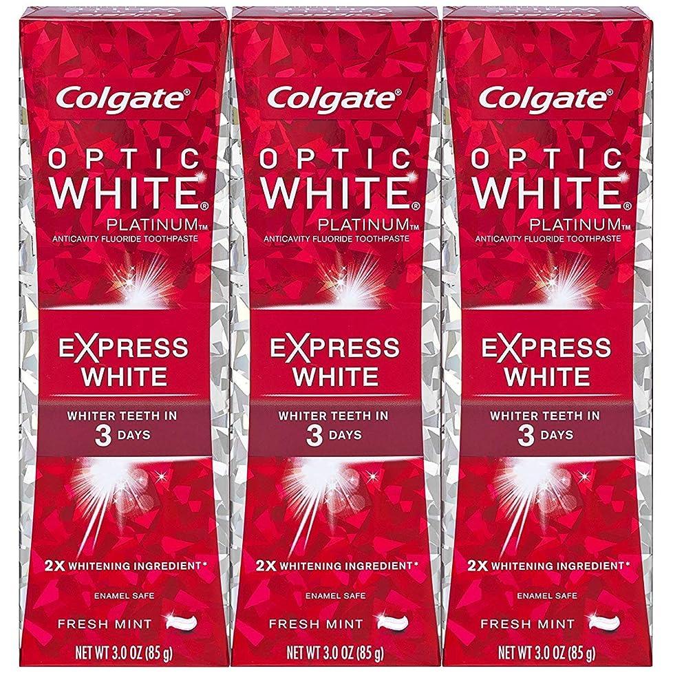 タック半ばうまくいけばColgate オプティックホワイトプラチナエクスプレス白の歯磨き粉、フレッシュミント3オズ(3パック)