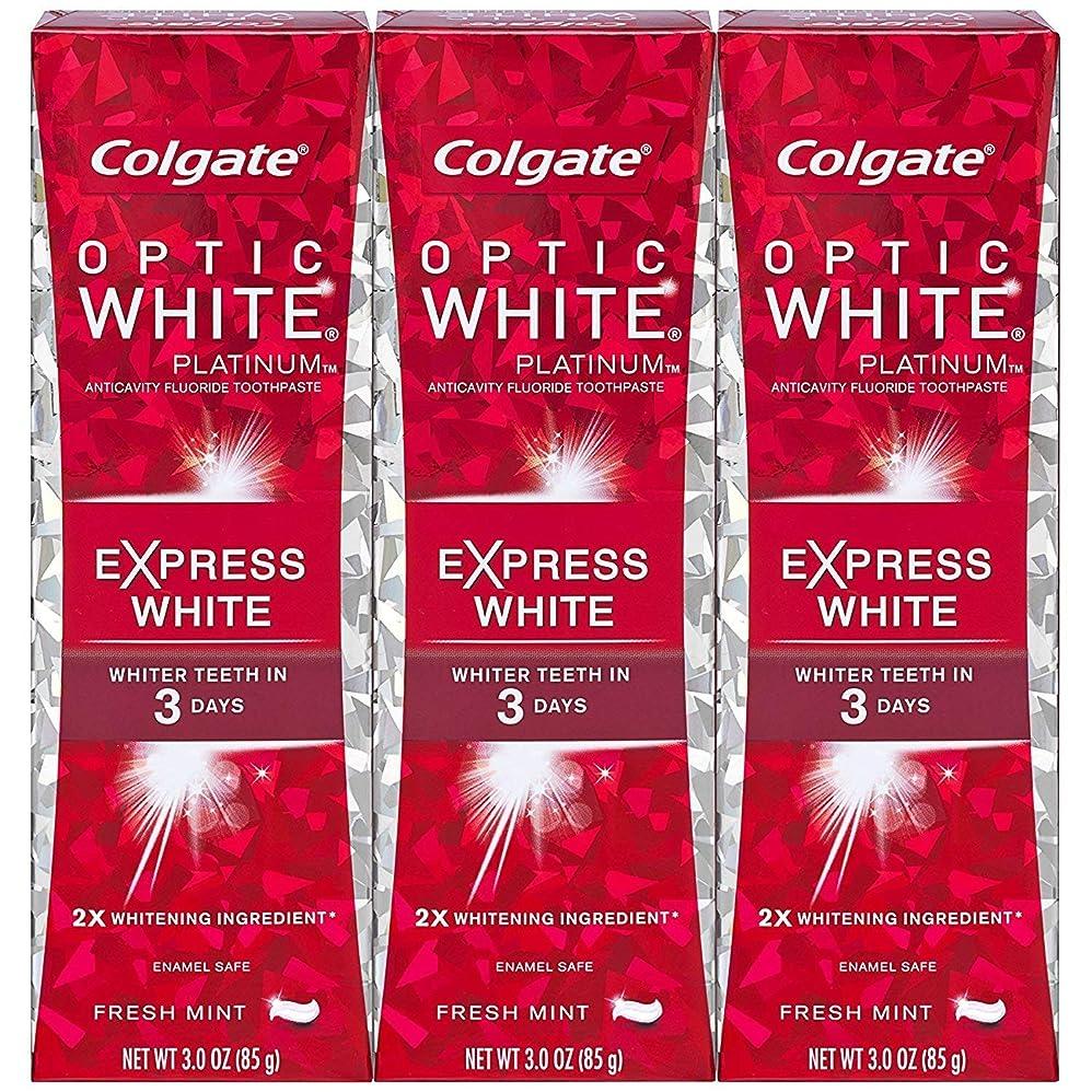 用心深いハム不愉快にColgate オプティックホワイトプラチナエクスプレス白の歯磨き粉、フレッシュミント3オズ(3パック)