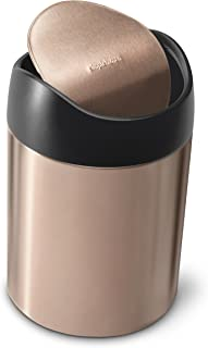 simplehuman 1.5 Liter / 0.40 Gallon Countertop Trash Can, Rose Gold Stainless Steel