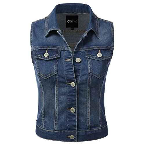 6e4fefa644 DRESSIS Womens Casual Sleeveless Denim Jean Cropped Vest Jacket