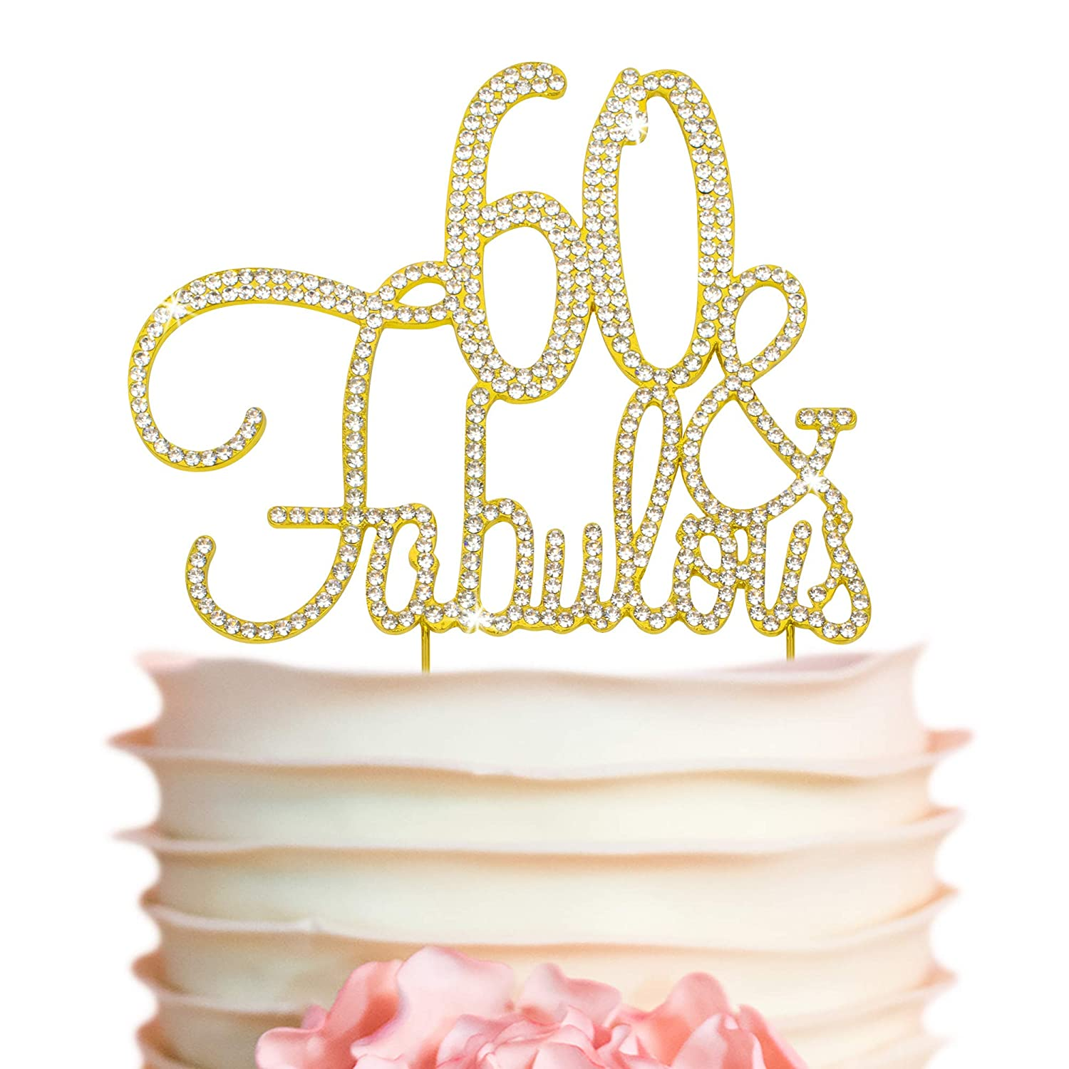 60 Cake Topper - Premium Ranking TOP9 Gold and Bir Metal 60th OFFicial site Fabulous