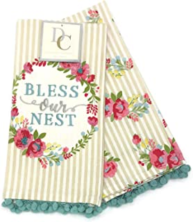 Deborah Connolly Bless This Nest Floral Wreath Embroidered Coordinating Pom Pom Kitchen Tea Towels
