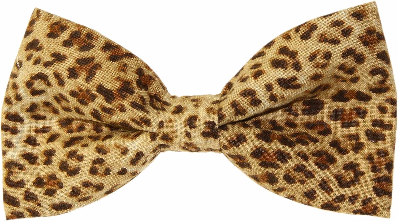 Men's Cheetah Print Clip On Cotton Bow Tie Bowtie amy2004marie