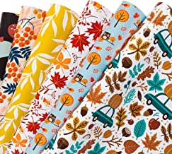 WRAPAHOLIC Gift Wrapping Paper Sheet - Maple Leaf and Pumpkin Autumn Design for Fall Celebrating, Birthday, Holiday, Wedding, Baby Shower - 1 Roll Contains 6 Sheets - 17.5 inch X 30 inch Per Sheet