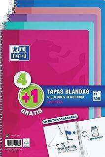 Oxford - Pack de 5 cuadernos (tapa blanda, 80 hojas, cuadrí