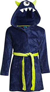 Only Boys Plush Solid Fleece Robe with Character Hood, Blue Cyclopes, Size 2T