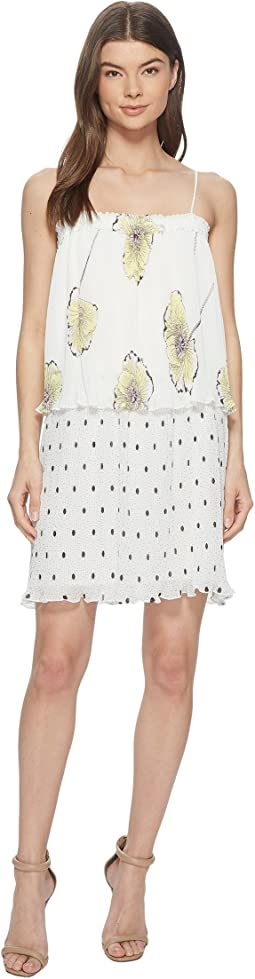 1.STATE Mixed Print Pleated Slip Dress