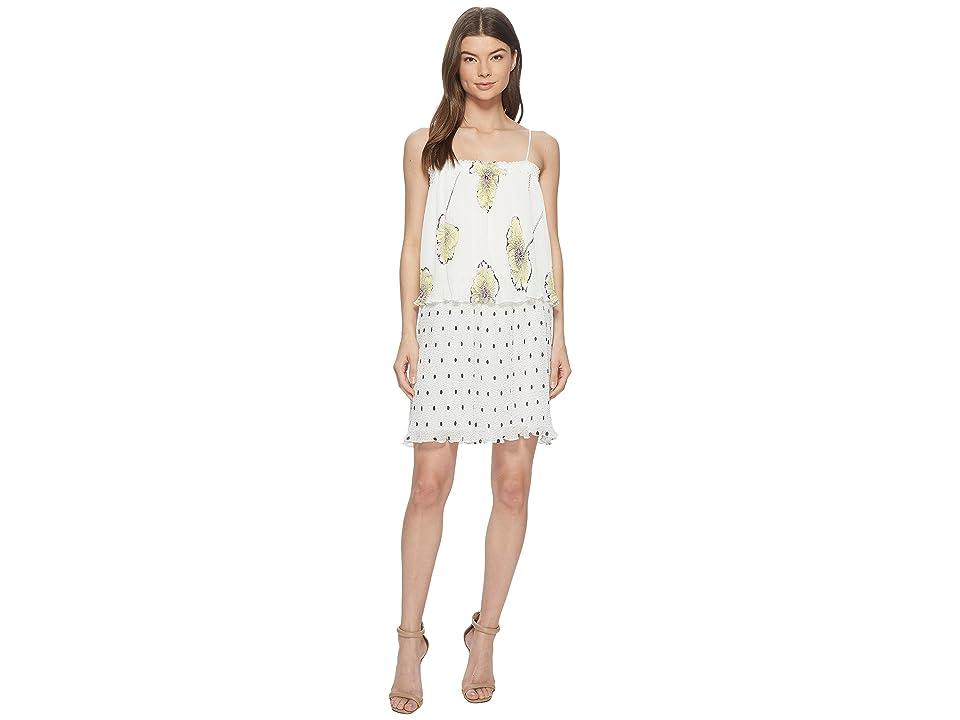 1.STATE Mixed Print Pleated Slip Dress (New Ivory) Women