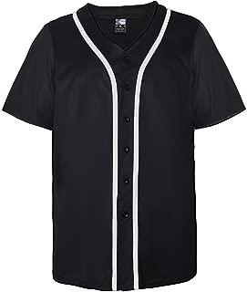 Men's Blank Plain Hip Hop Hipster Button Down Baseball Jersey