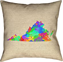 """ArtVerse Katelyn Smith 26"""" x 26"""" Poly Twill Double Sided Print with Concealed Zipper & Insert Virginia Watercolor Pillow"""