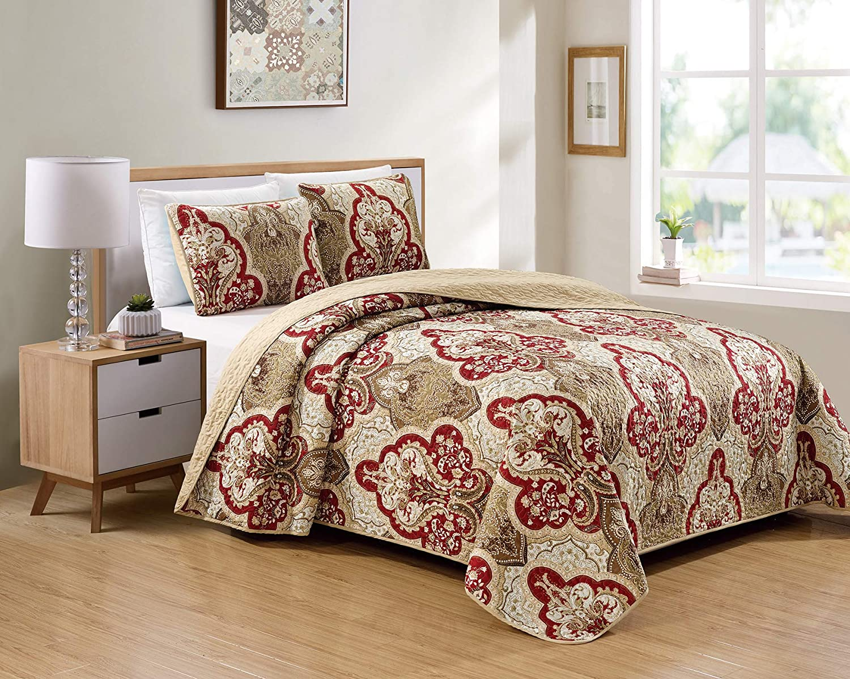 Kids Zone Home Linen Bedspread specialty shop Pattern Burgundy Gifts Taupe Set Damask