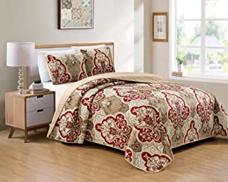 Better Home Style 3 Piece Luxury Lush Soft Taupe Burgundy Motif Ornamental Floral Printed Design Coverlet Bedspread Oversized Bed Cover Set # 3562 (Taupe, King/Cal-King)