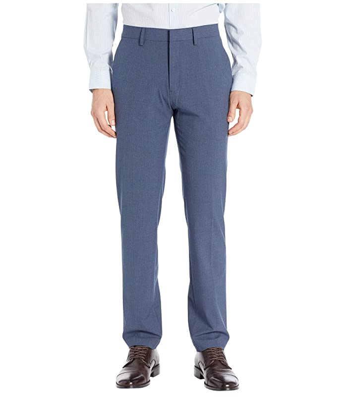 Kenneth Cole Reaction  Solid Gab Four-Way Stretch Slim Fit Dress Pants (Blue Heather) Mens Casual Pants
