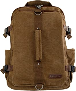 Odyseaco - Montera Vintage Canvas Rucksack Backpack - Heavy Duty, Hidden Pockets and Laptop Sleeve - Perfect Travel Bag (Light Brown)