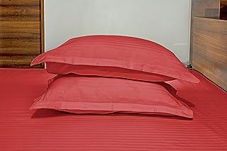 "Enchant Home Satin Stripes Pillow-Covers, Pure Cotton 300 TC, 18"" X 27"" inches(Set of 2) Tomato- (No Pillows)"