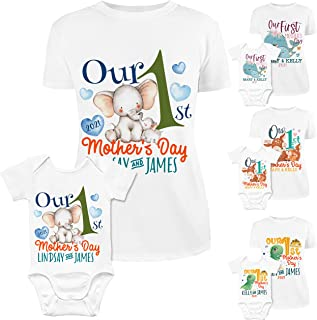 Our First Mothers Day Outfit for Mom and Baby Girl, Boy | 8 Designs & 5 Sizes | Personalized Our 1st Mom Shirt and Baby Bo...