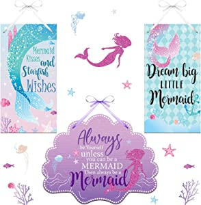 3 Pieces Mermaid Wood Sign Doubled-Sided Printing Mermaid Summer Door Sign Shell Welcome Door Plaque Seaside Theme Plaque Farmhouse Bathroom Decor Wall Art for Home Kids' Room Living Room Decoration